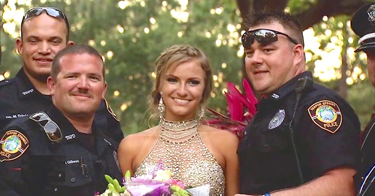 cops escort.jpeg - Police Officers Escort Grieving Teen To Prom After She Lost Her Policeman Father