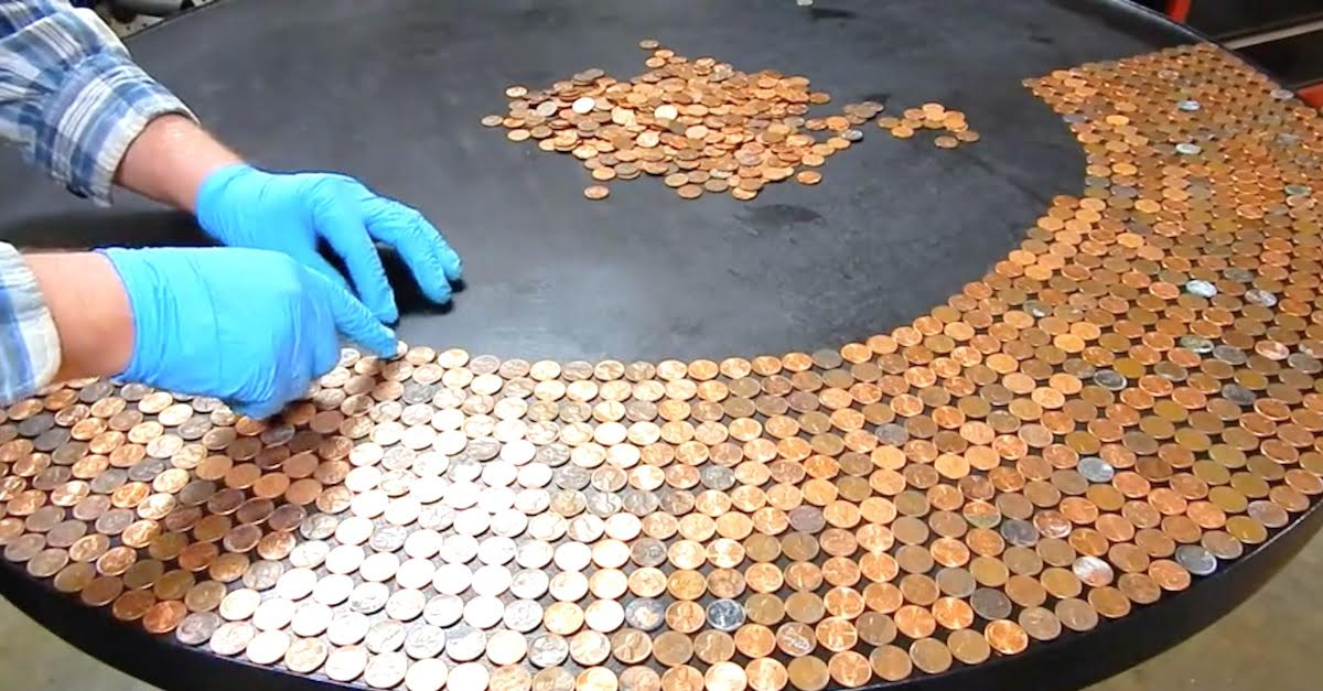 featured image.jpeg - Man Turned His Table Into A Work Of Art After Adding Pennies On Top Of It