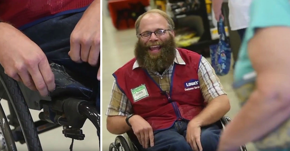 lowes4p.jpg - Lowe's Greeter Of 17 Years Gifted A New Wheelchair By His Co-workers