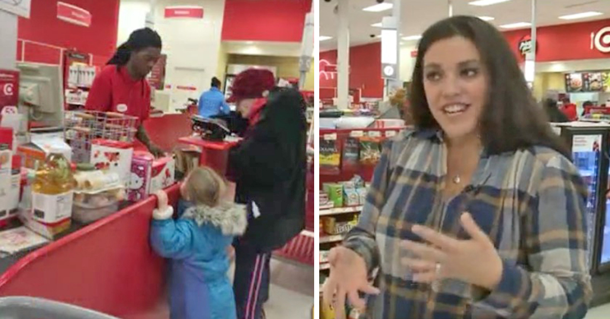 target cashier 1.jpg - Elderly Woman Pays In Change And Holds Up The Line, Then A Woman Behind Wrote A Note To A Cashier
