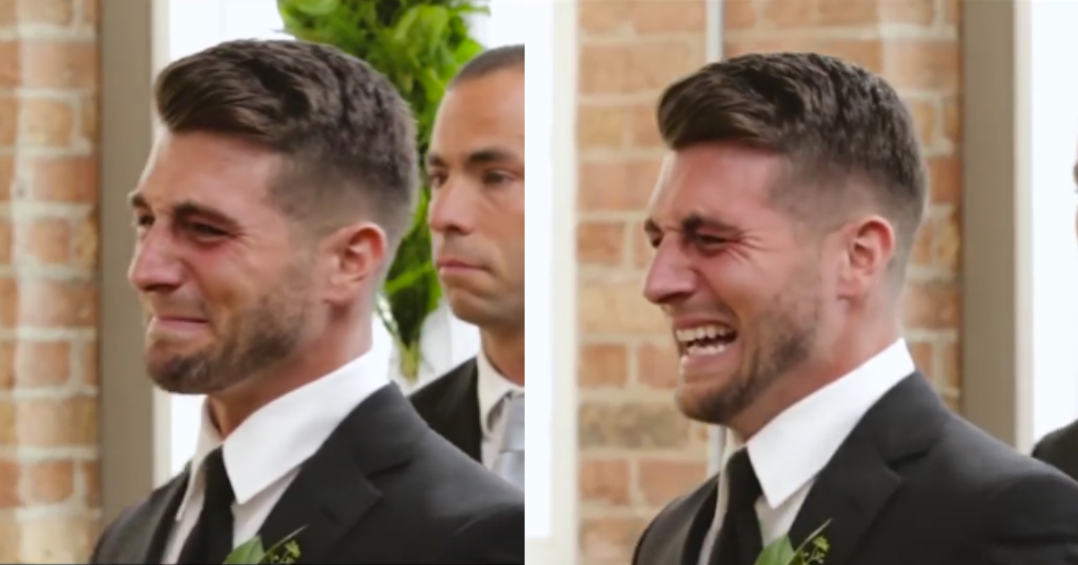groom cries on wedding.jpg - Groom Burst Into Tears As Bride Waked Down The Aisle In Emotional Ceremony