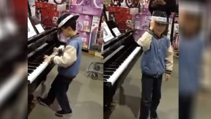 piano in toystore 412x232.jpg - Young Boy Delivered Piano Performance Beyond His Years In The Middle Of Toy Store