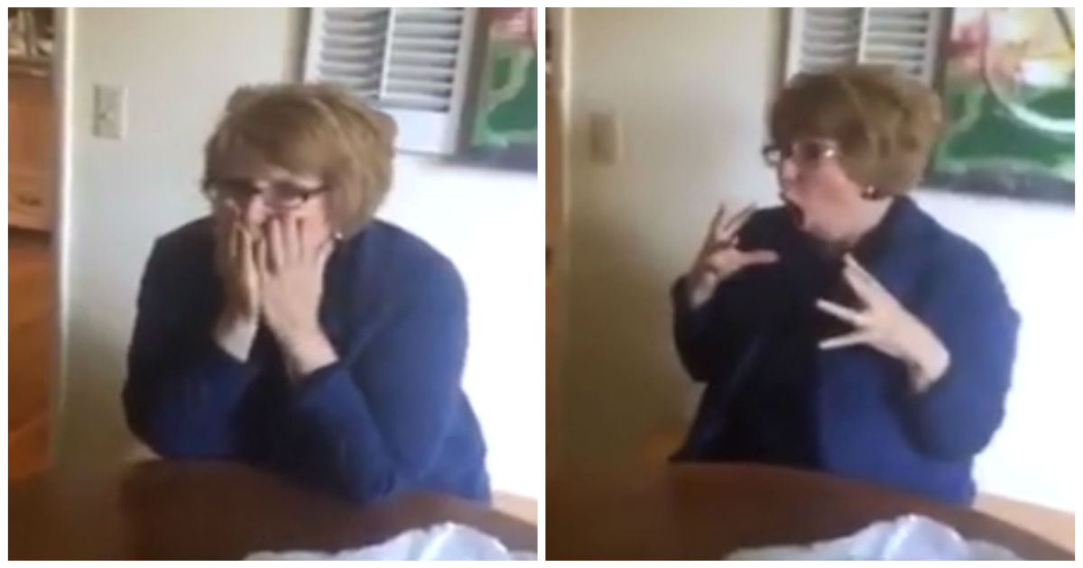 surprise mom freaks out cover.jpg - Daughter Gives Her Gift Box To Open..When Husband Reads The Tag, She Gasps And Completely Loses It!