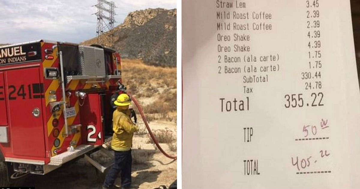facerte.jpg - Woman Saw Firemen Eating After Battling Blaze, Then She Secretly Paid Their Bill And Left