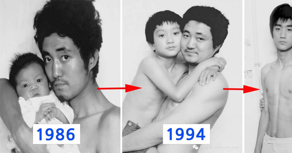 """ec9584eb93a4eab3bc ec9584ebb9a0.png - """"1986년부터 2012년까지"""" 무려 '27년'간 매년 같은 사진을 찍은 아들과 아버지 (사진)"""
