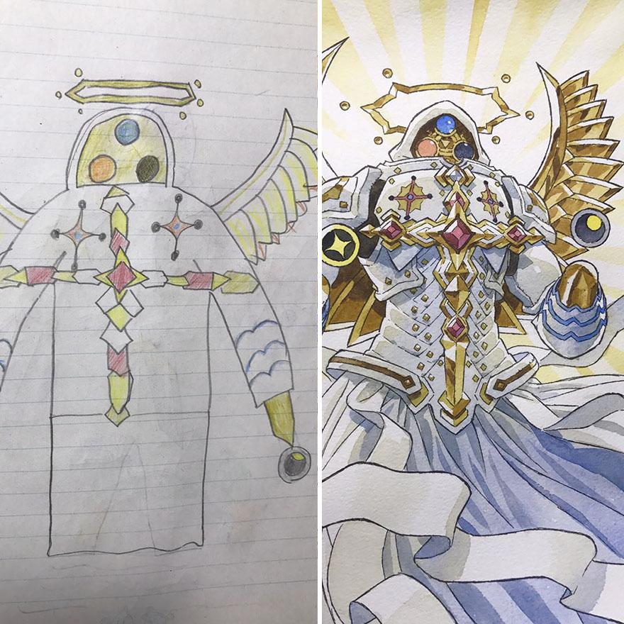 150295886356080.jpg - 插畫家老爸把「兒子塗鴉的怪獸」重新畫一次,網友看到作品後大讚:「有神快拜!」