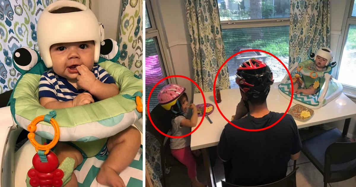 helmatfin.jpg - Família usa capacetes de bicicleta para bebê não se sentir excluído