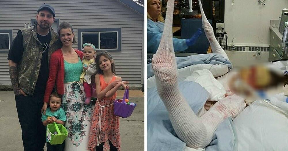 burning mom 1.jpg - Mãe volta para salvar filha que ficou presa em casa em chamas e sofre ferimentos graves