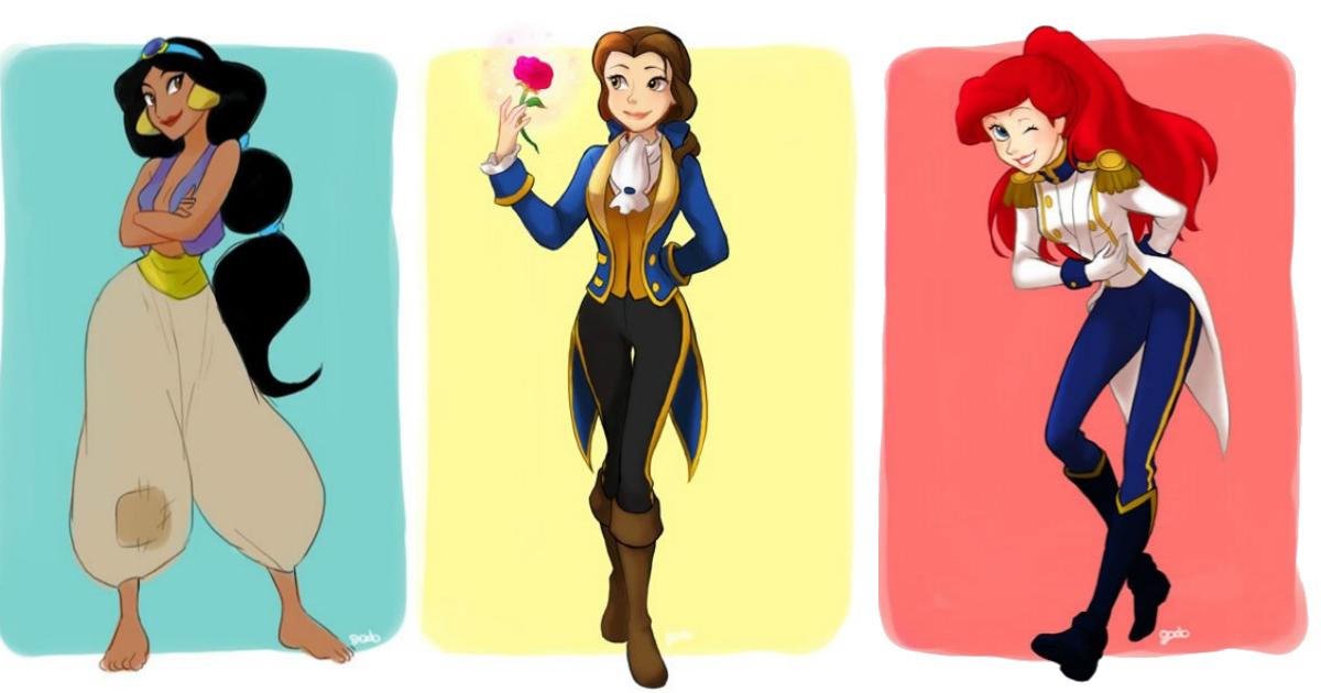 roupahomen.jpg - As princesas Disney vestidas com as roupas de seus companheiros