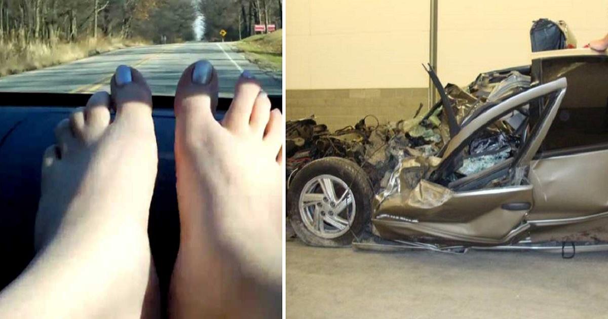 Une femme s'endort avec ses pieds sur le tableau de bord de sa voiture - sa vie ne sera plus ...