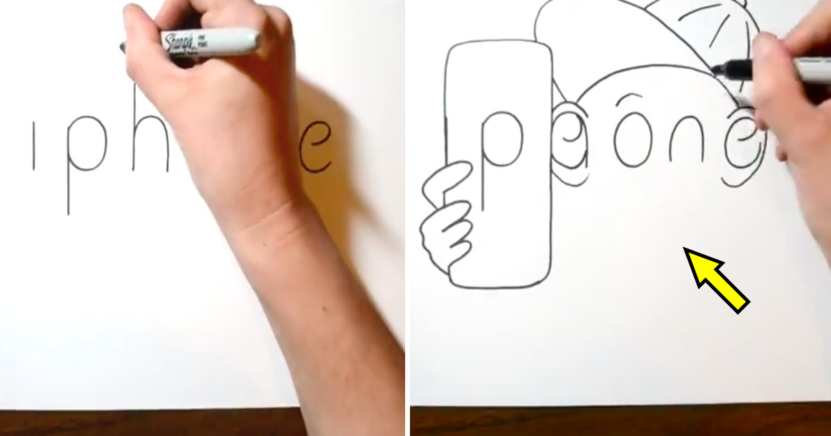 cartoon.jpg - Artist Doodled Like a Pro! He Spelled 'Iphone' And Transformed It Into An Adorable Sketch