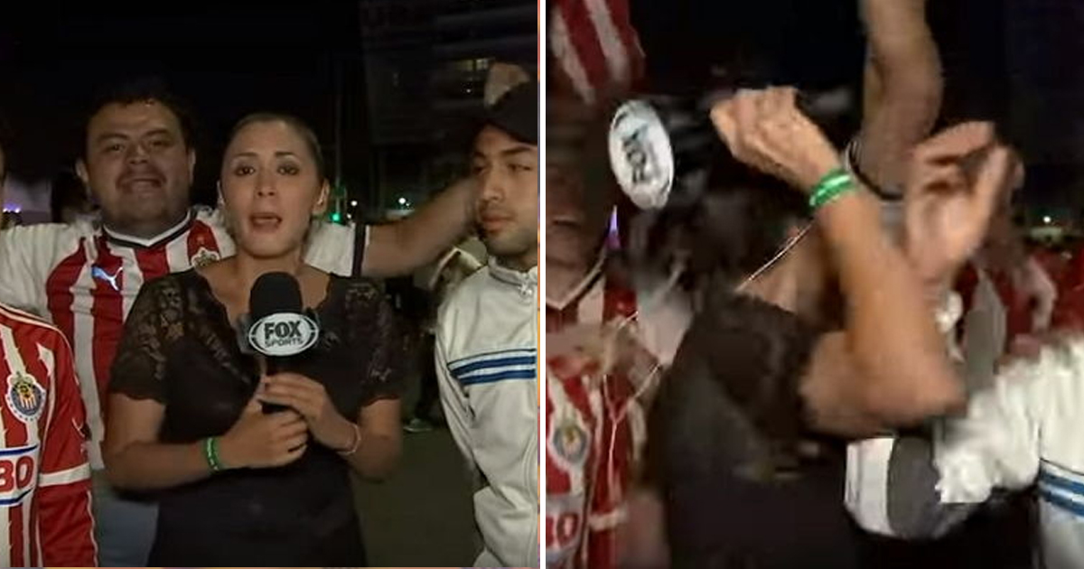 8 47.jpg - Repórter joga microfone um homem que a assedia durante transmissão ao vivo