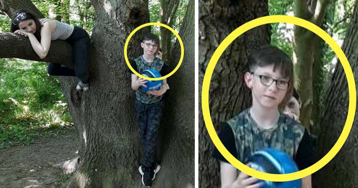 pic copy 24.jpg - Mother-Of-2 Captures Terrifying Picture Of A 'Ghost Child' Standing Behind Her 9-Year-Old Son With A Hand On His Shoulder