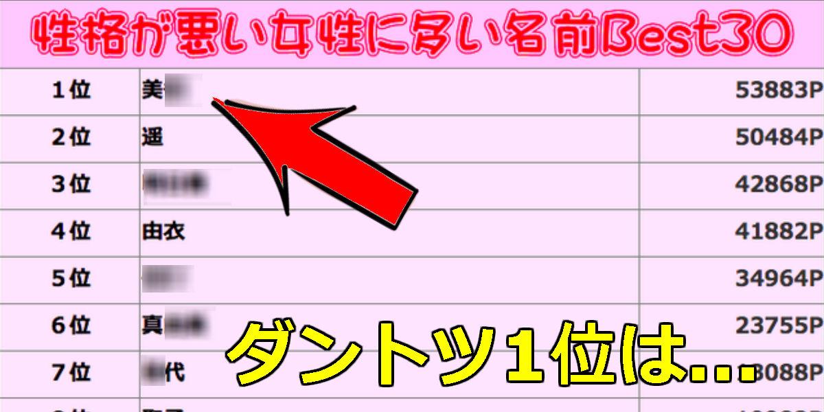 22 7.jpg - 【男女とも必見】1位は「美〇」!性格悪い女性名前ランキング大公開