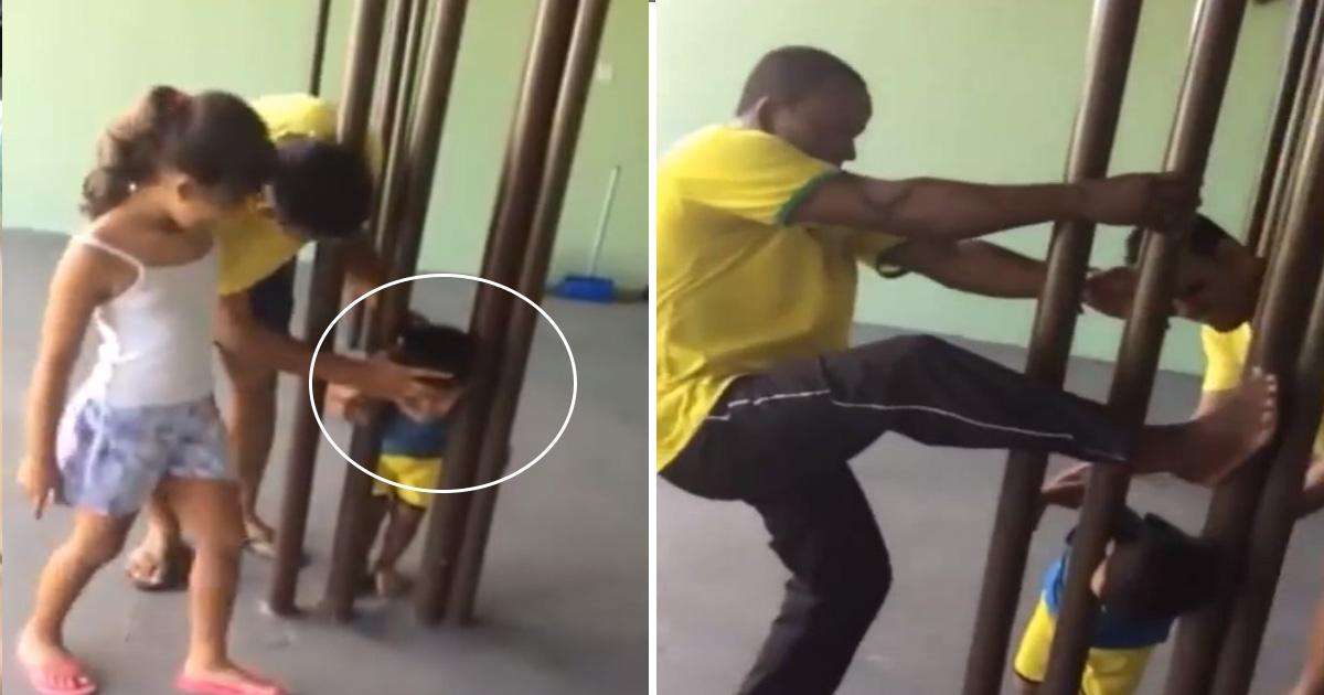 afda 1.jpg - Homens não conseguem tirar a cabeça de garoto presa em mastro de metal - 2 horas depois, pai tem uma ótima idéia