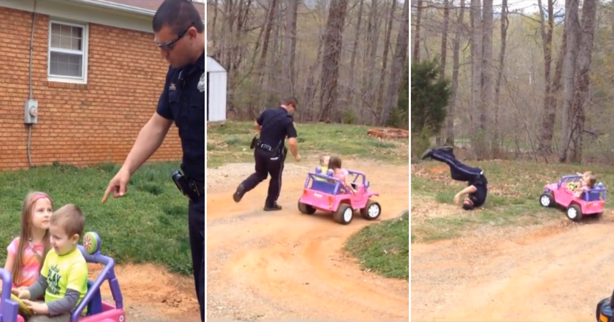 copdad.png - Adorable Moment Cop Dad Pulled Over His Kids In Toy Car And Demanded Driving License