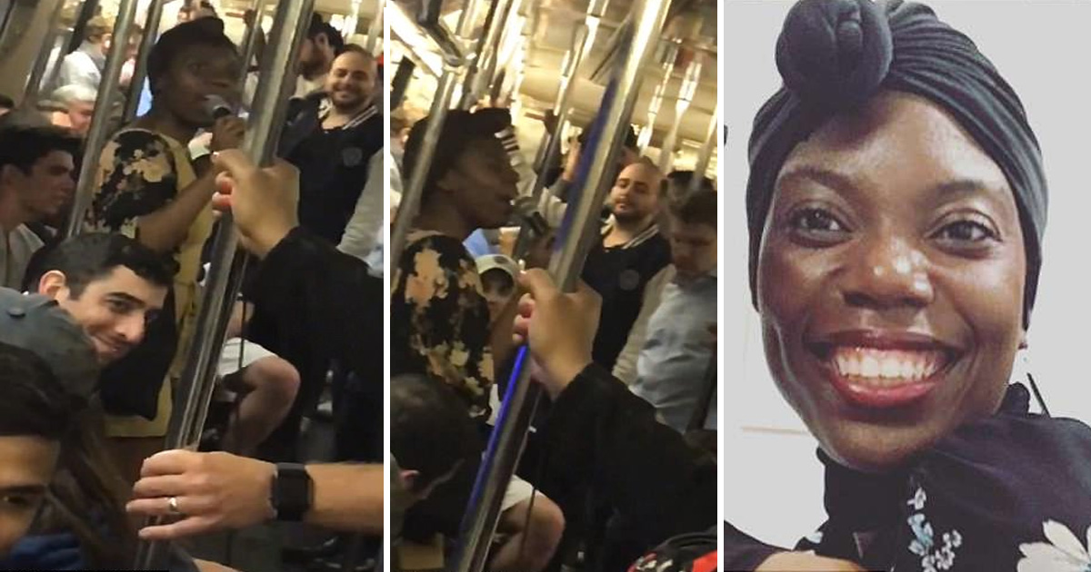 """dgfg.jpg - Nova Iorquina começa a cantar """"Rock With You"""" de Michael Jackson em um trem de metrô, momentos depois, os passageiros se unem à ela"""