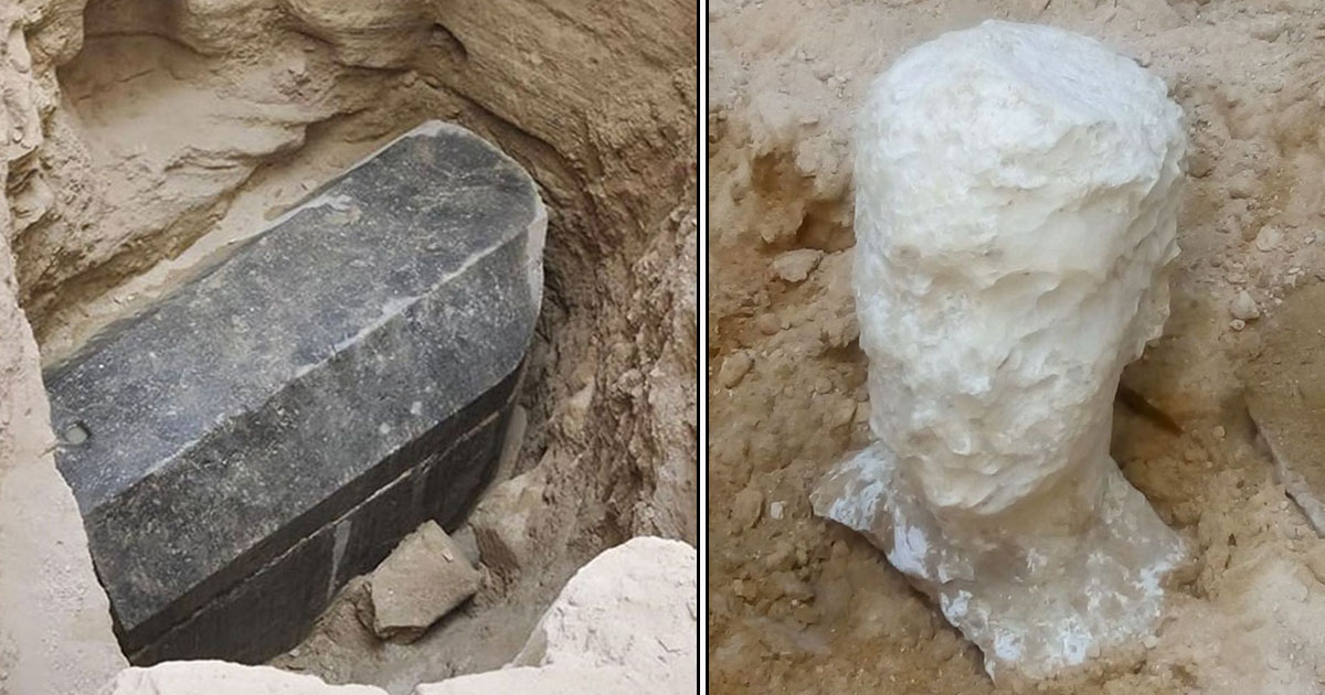 egypt research coffin.jpg - Archaeologists Found A Massive Black Coffin In Egypt—Prepare To Open Huge Granite Sarcophagus
