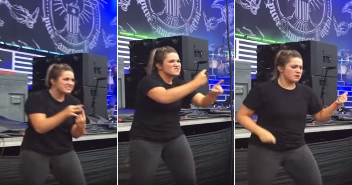 interpreter side.jpg - Passionate Sign Language Interpreter Amazed The Audience With Her Perfect Translation Of A Song At Metal Concert