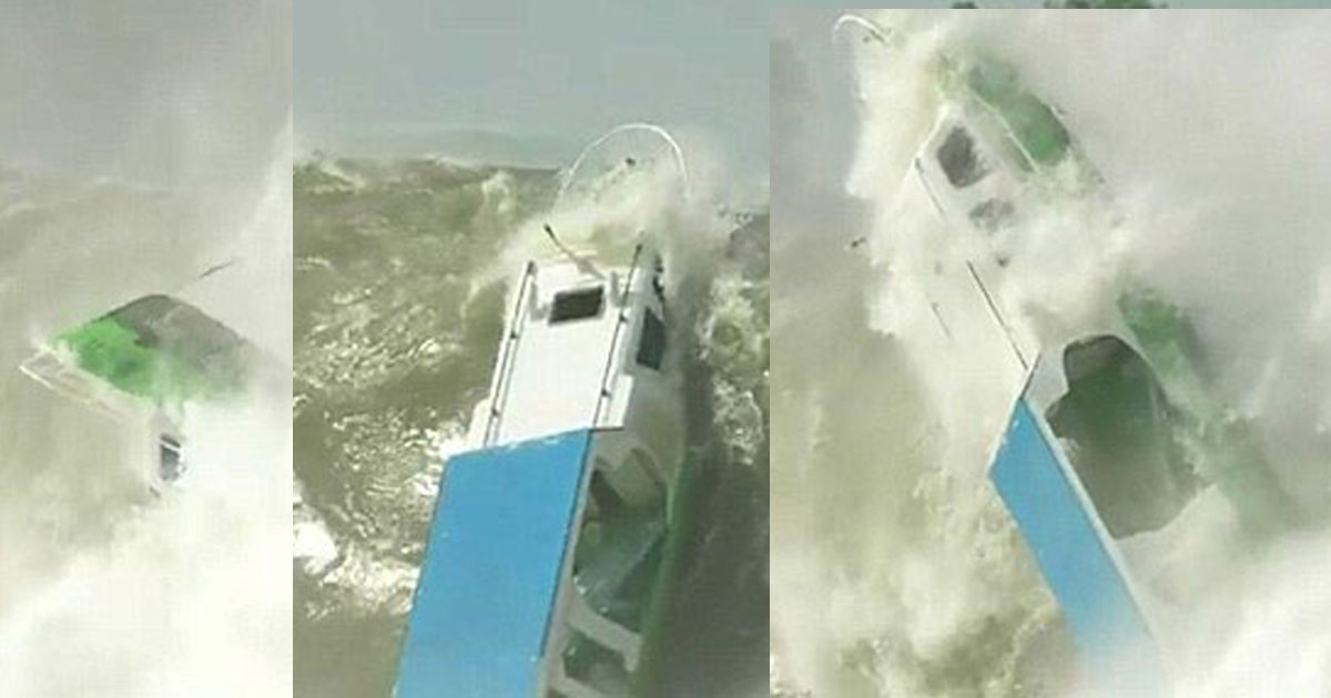 boat floating scary footage indonesia 33.jpg - A Tiny Boat Was Completely Crushed By A Huge Wave