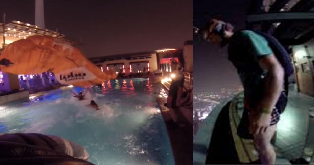 here is how base jumper crashes rooftop pool party.jpg - Voici comment un base-jumper saute d'un des plus hauts immeubles du monde !