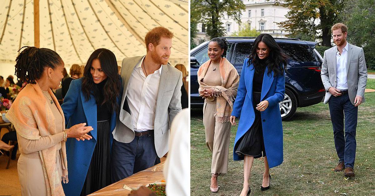 doria meghan harry.jpg - Doria Ragland junta-se a sua filha Meghan Markle e ao Príncipe Harry no lançamento do livro de receitas de Meghan