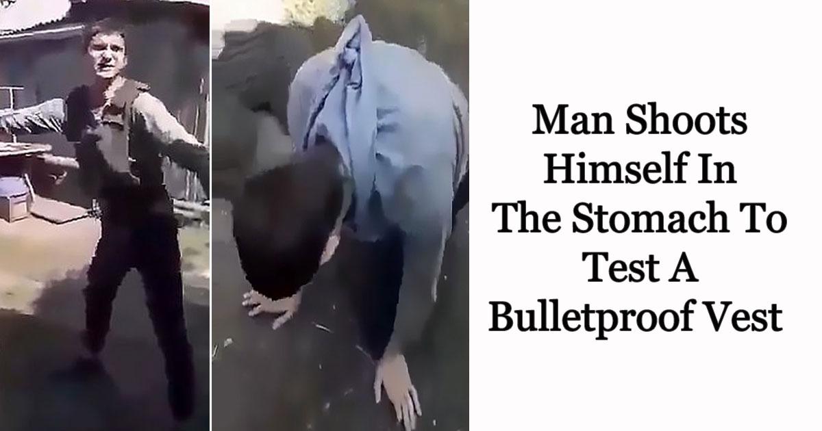 man shoots himself.jpg - Vídeo de um homem atirando no próprio estômago para testar um colete à prova de balas circula na internet