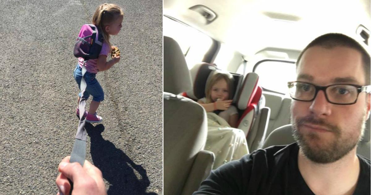 on a leash.jpg - Pai explica porque decidiu manter sua filha de 3 anos na coleira