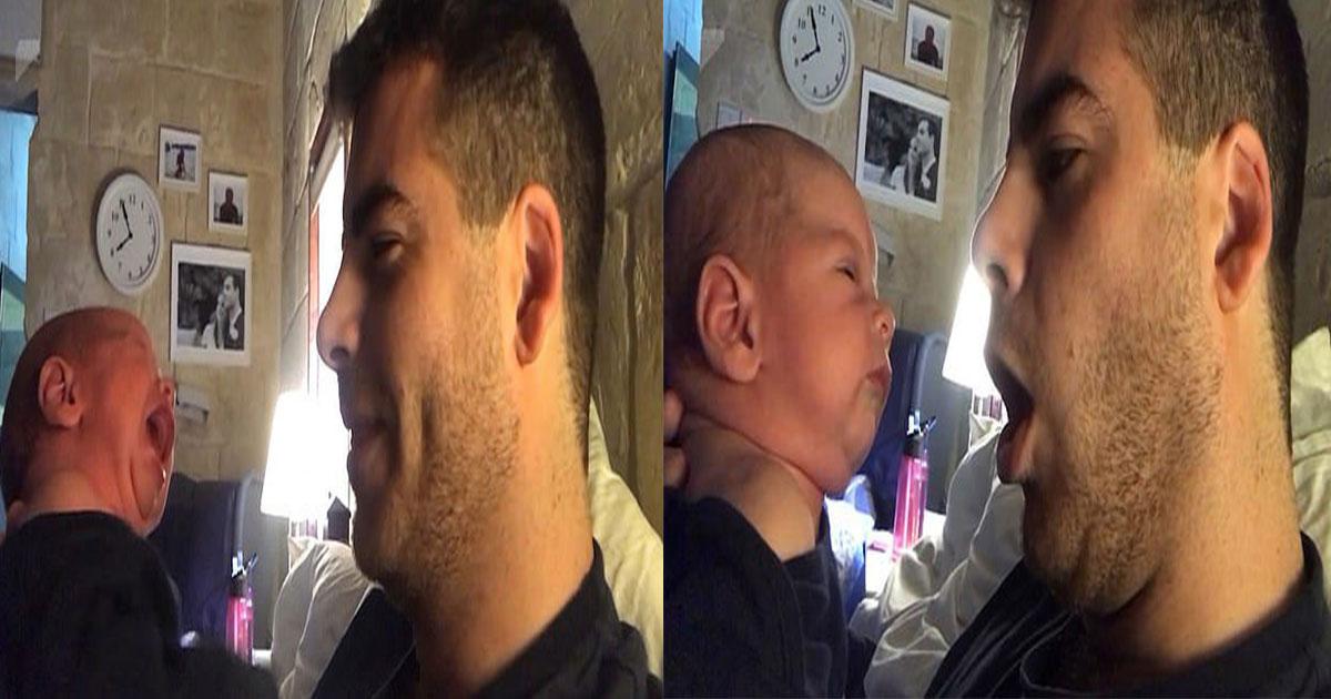 untitled 1 34.jpg - Este pai tentou uma nova técnica para impedir que seu filho de duas semanas chorasse