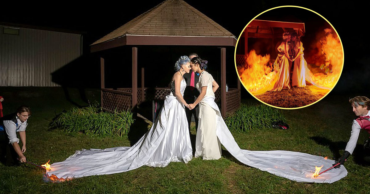burning gowns.jpg - Brides Asked Their Guests To Set Their Wedding Dresses On Fire