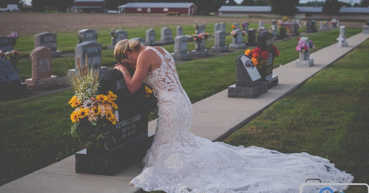 noiva.png - Vestida de noiva, jovem visita túmulo do companheiro no dia em que iriam se casar