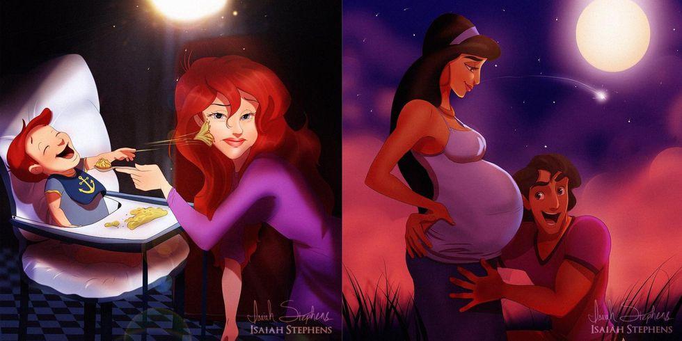 img 5be21f1888235.png - 迪士尼公主變「新手媽媽 」全網瘋傳!畫家筆下的美人魚小孩超調皮、阿拉丁是個好爸爸!