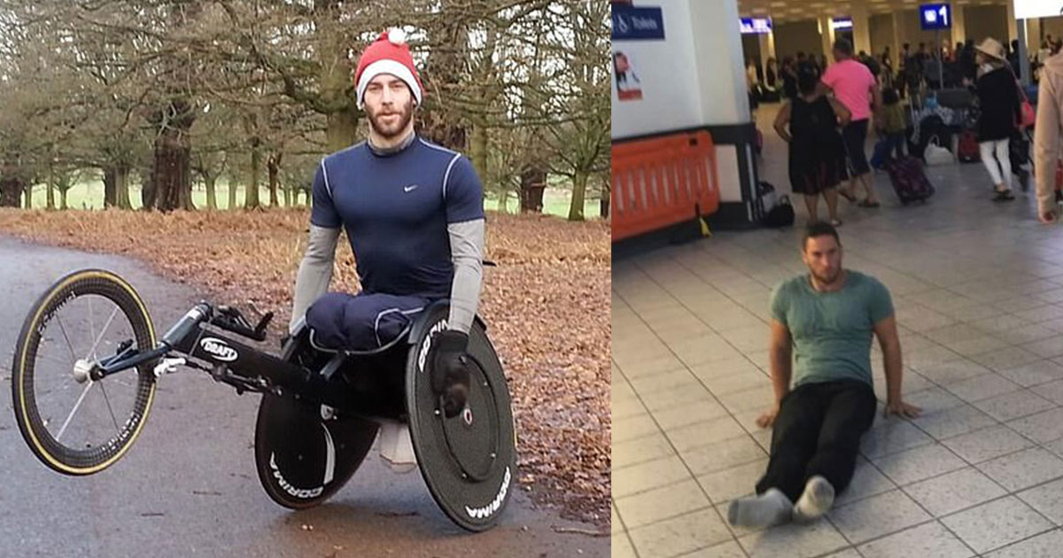 paraplegic athlete sues luton airport as he was forced to drag himself through the terminal.jpg - Paraplegic Athlete Sues Luton Airport As He Was Forced To Drag Himself Through The Terminal