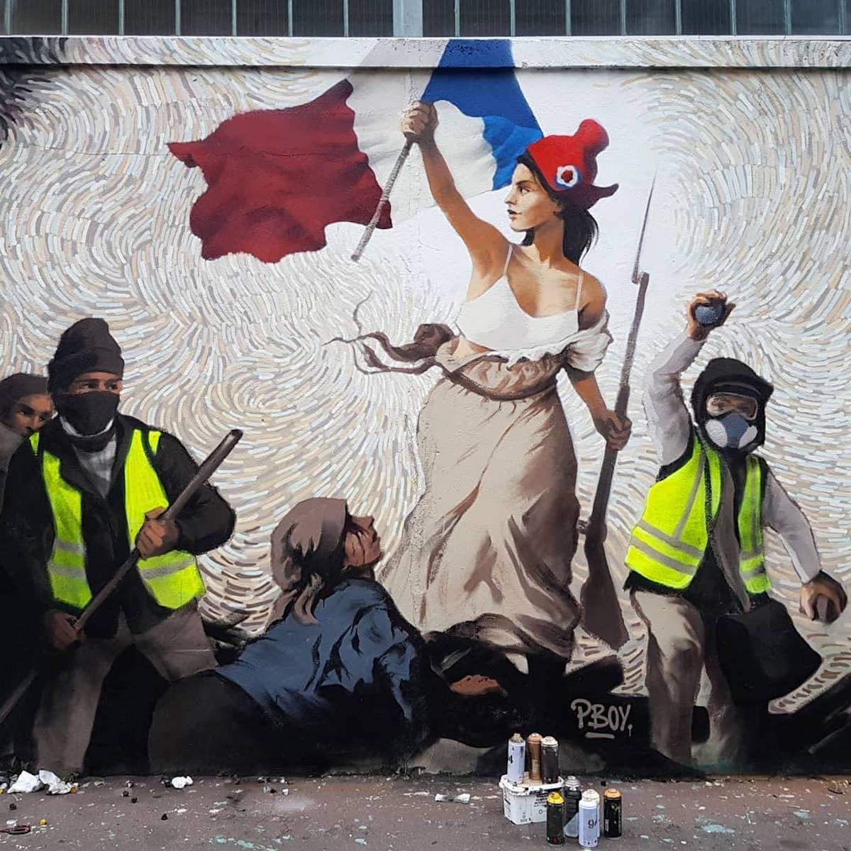 """gilets jaunes delacroix street art 01.jpg - Cet artiste a détourné """"La Liberté guidant le peuple"""" avec des gilets jaunes"""