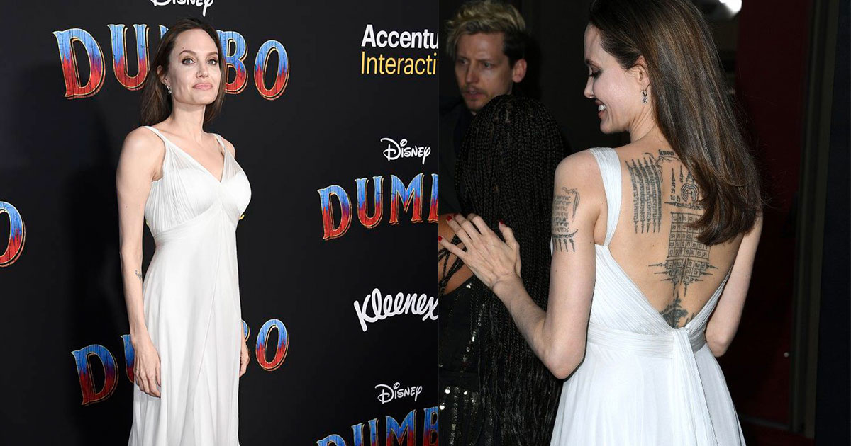 angelina jolie stunned in a backless gown as she showed off her tattoo collection at dumbo premiere.jpg - Angelina Jolie Stunned In A Backless Gown As She Showed Off Her Tattoo Collection