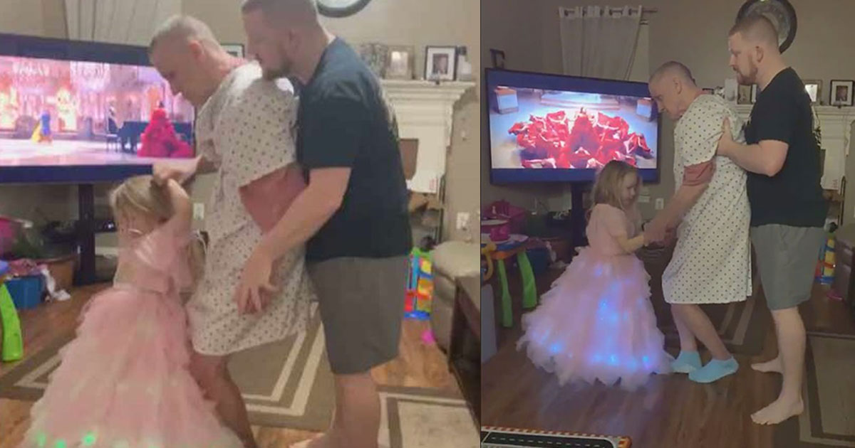heart touching video of little girl dancing with her grandfather who is unable to stand went viral.jpg - Une petite fille danse avec son grand-père qui est incapable de se tenir debout