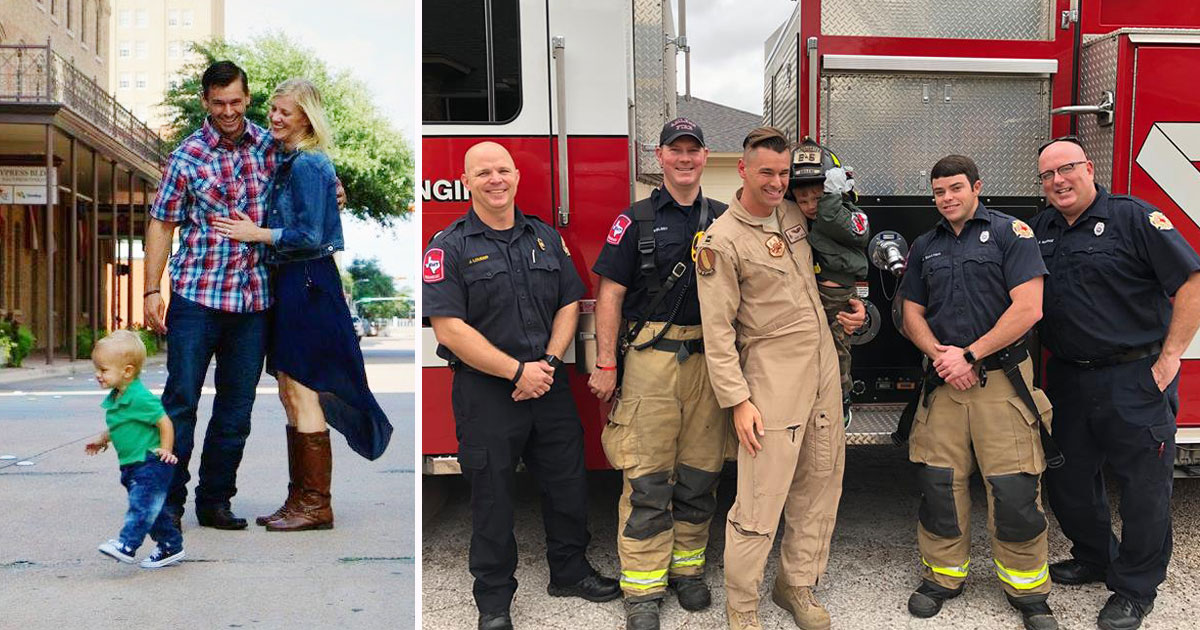 military dad surprises son.jpg - Firefighters Help Military Dad Surprise His Son After He Returned From A 6-Month Deployment