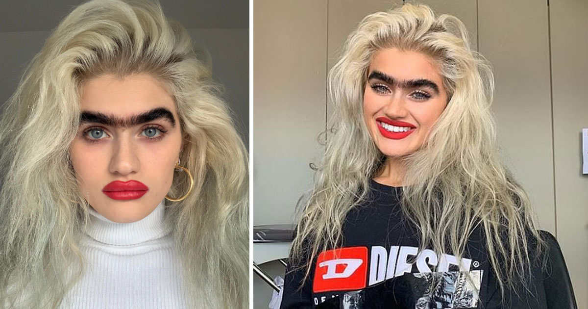 model death threats eyebrows.jpg - Woman With Thick Jet-Black Eyebrows Models To Promote Body Positivity