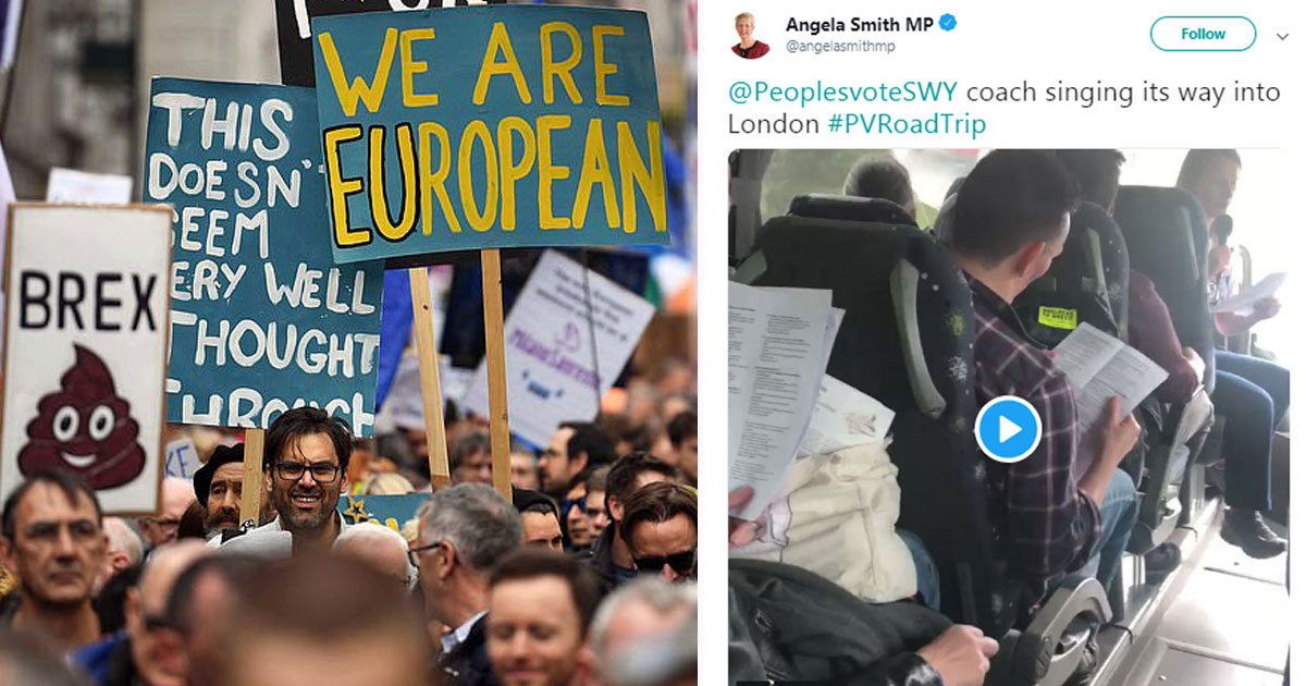 pro brexit sings.jpg - Pro-Brexit Protesters Sing On A Bus On The Way To People's Vote March In London