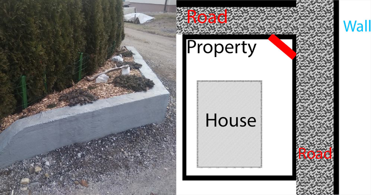 replace fence.png - Neighbors Kept Running Over The Family's Fence So Dad Replaced It With Concrete