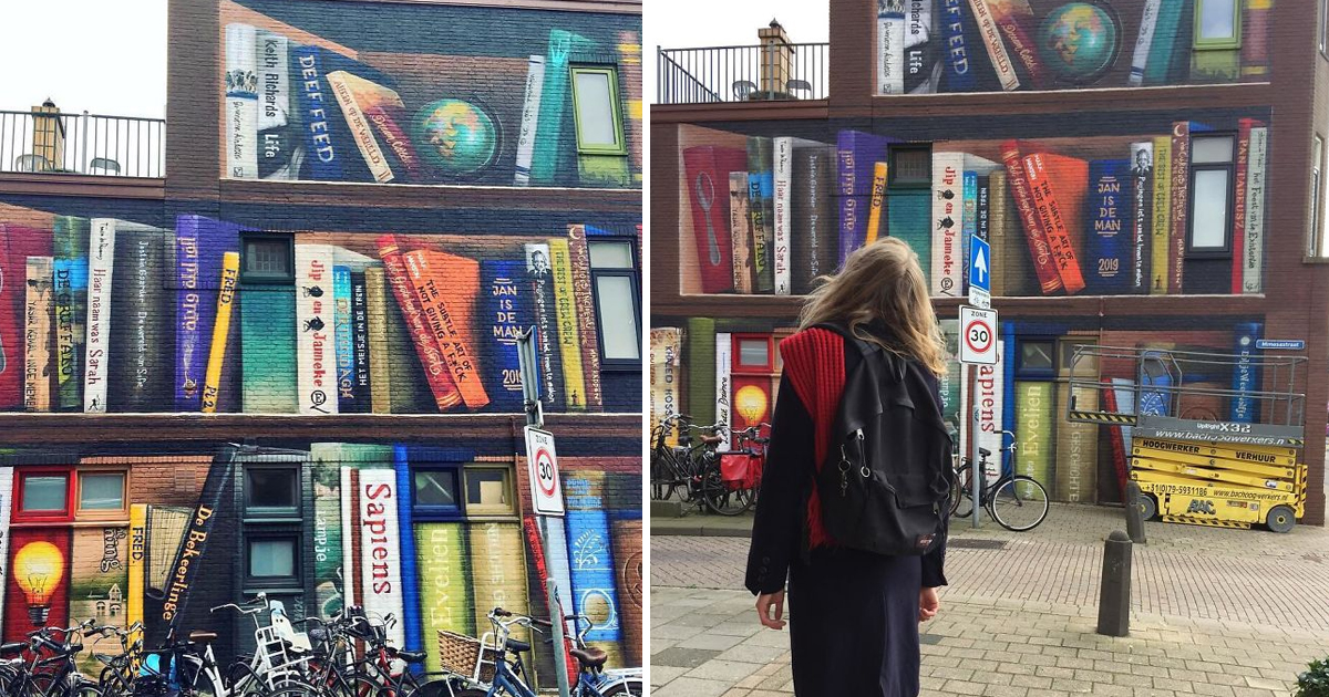 dfs.jpg - Dutch Street Artist converted Utrecht Apartment Building into a Huge Phenomenal Mural Depicting Bookcase