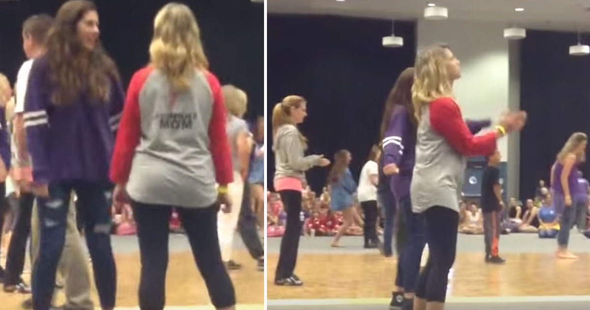 mom dances.jpg - Daughter Cheered For Her Mother Who Showed Off Her Dance Moves In A Dance Competition
