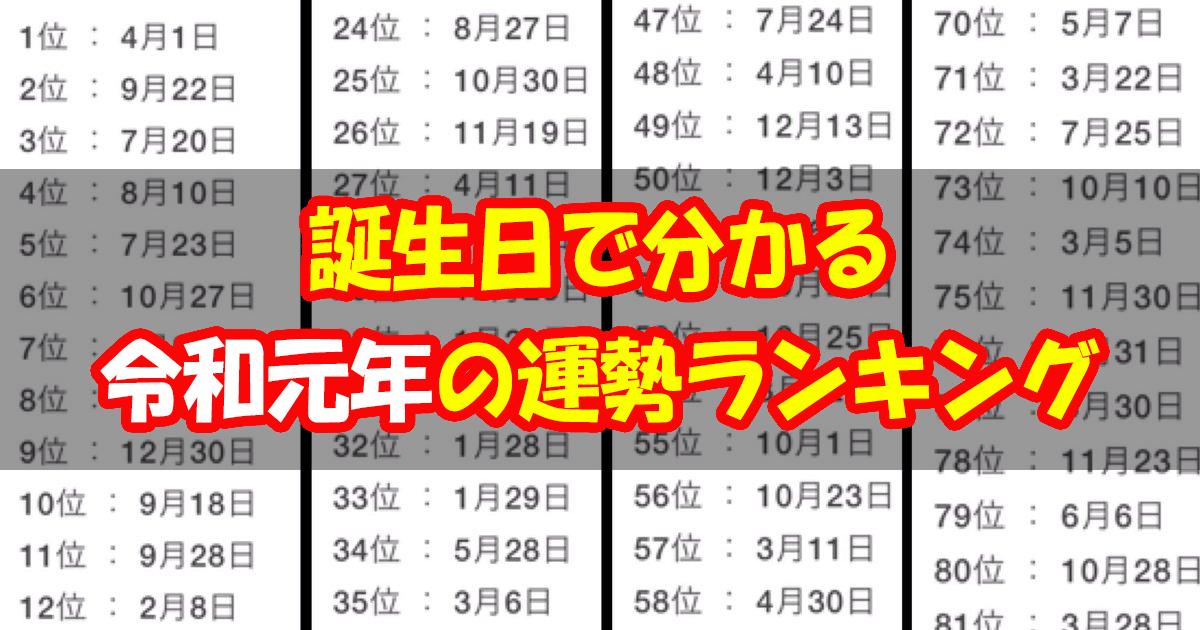 reiwa ttl.jpg - 【占い】誕生日でわかる「令和元年」の運勢ランキングは?