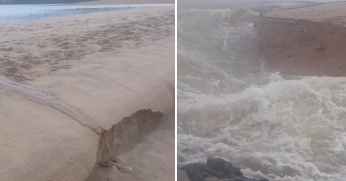 river cut channel coean.jpg - Incredible Video Of A River Cutting A New Channel Into The Ocean