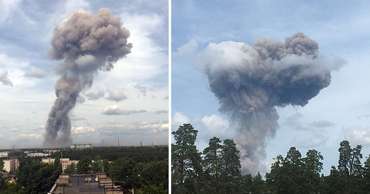 russian tnt explosion.jpg - Mushroom Cloud Erupted After An Explosion At Russian TNT Factory Which Left 38 People Injured