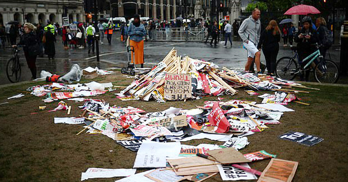 trump protest london.jpg - Protesters Left Behind Litter After Protesting Against Donald Trump In London