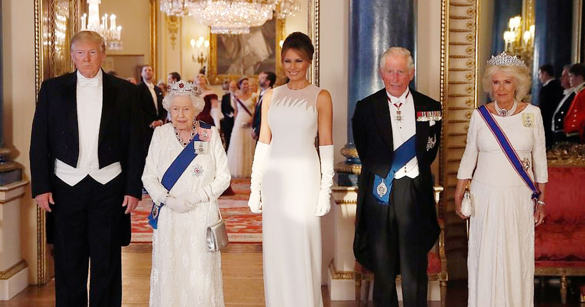 trump the queen.jpg - President Donald Trump Called The Queen A 'Great, Great Woman' In His Speech At State Banquet In Buckingham Palace Ballroom