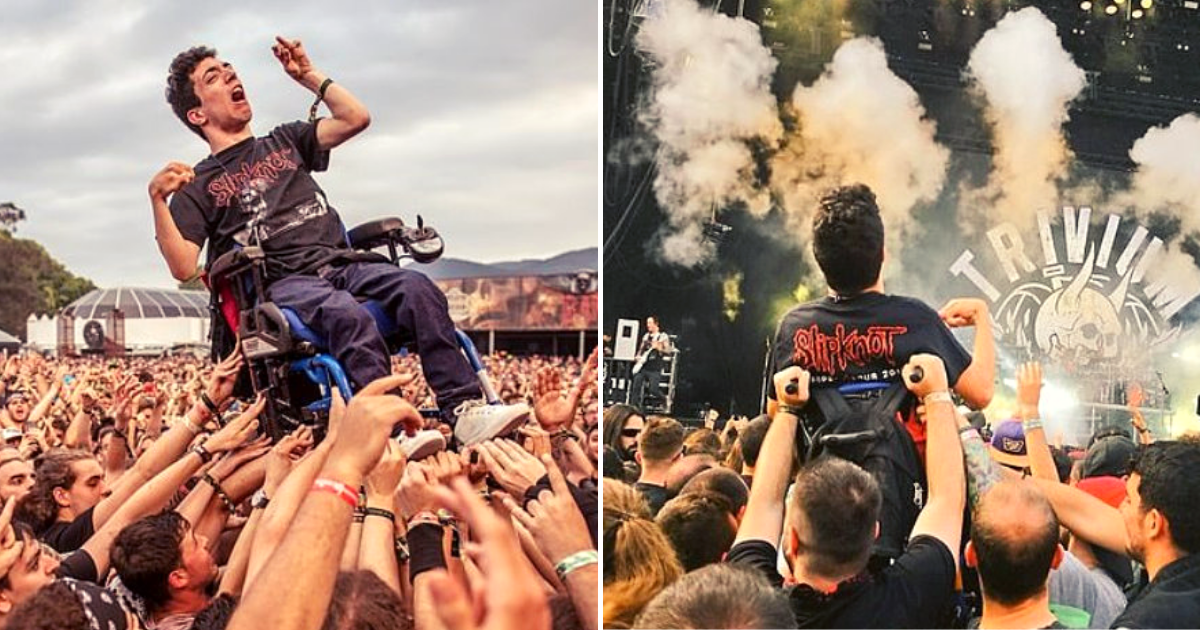 alex4.png - Young Man With Cerebral Palsy Crowd Surfs In His Wheelchair At Music Festival