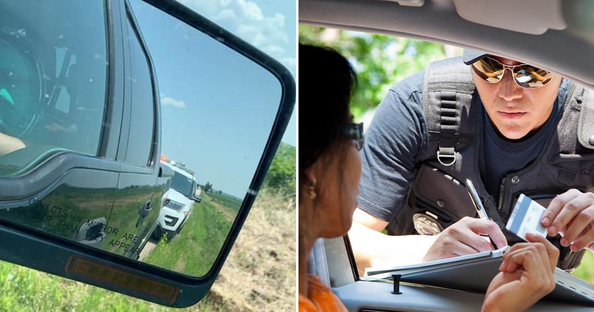 cop2.png - Un officier de police fouille dans sa poche et donne de l'argent à une femme au lieu de lui mettre une amende pour excès de vitesse