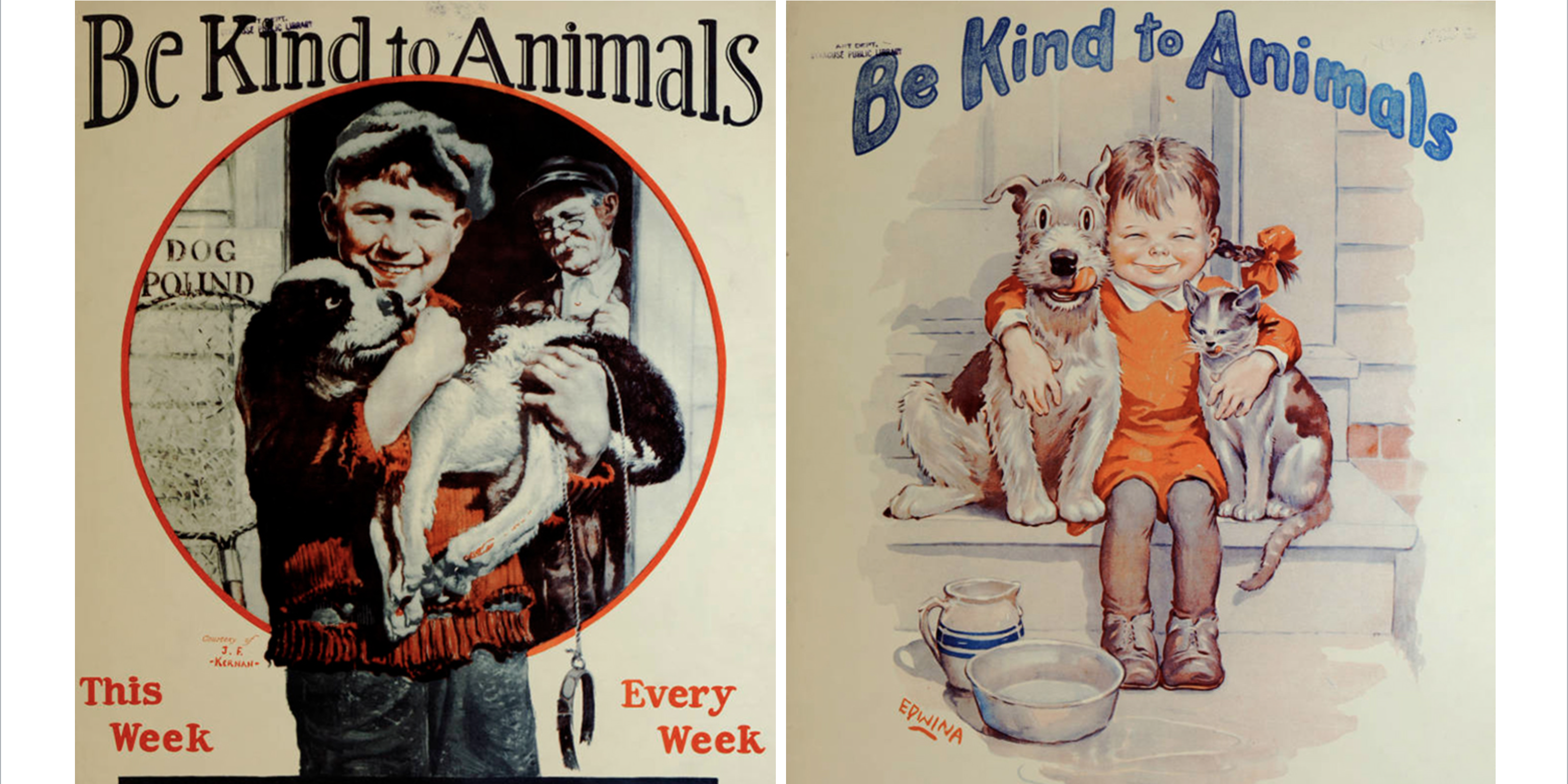 """screen shot 2019 07 15 at 11 24 03 pm e1563200721276.png - 17 Adorable """"Be Kind To Animals"""" Posters From The 1930s"""